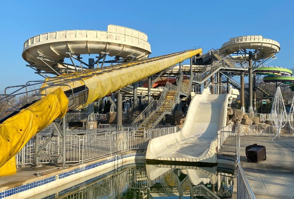 Sky River Rapids slide with power tube conveyor